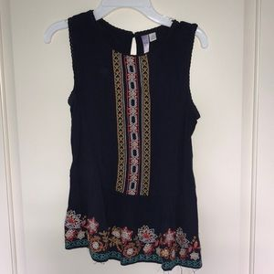 francesca's embroidered blouse - navy blue